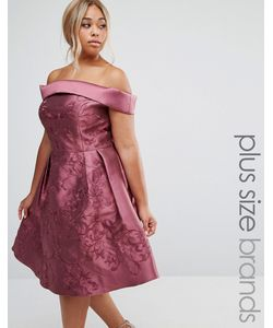 Chi Chi Plus | Платье Миди С Открытыми Плечами Chi Chi London Plus