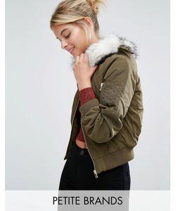 Miss Selfridge Petite | Куртка-Пилот С Отделкой Из Искусственного Меха На Капюшоне