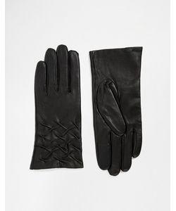 Totes   Кожаные Перчатки Для Сенсорных Экранов Со Сборками Черный