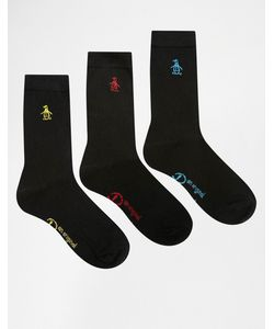 PENGUIN | Набор Из 3 Пар Черных Носков С Разноцветной Вышивкой