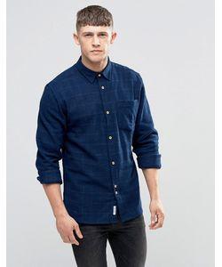 Bellfield | Темно-Синяя Рубашка С Начесом В Тонкую Клетку