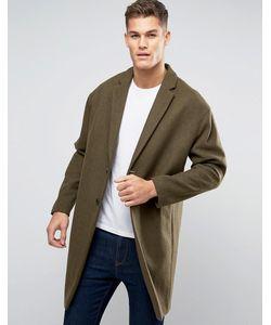 Asos | Полушерстяное Пальто Болотного Цвета