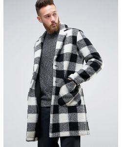 Asos | Полушерстяное Пальто В Черно-Белую Клетку