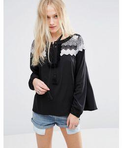 Hazel | Блузка Со Вставкой Кроше Черный