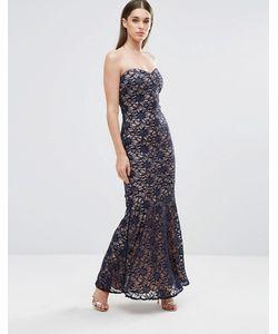 Sistaglam | Кружевное Платье-Бандо Макси Черный