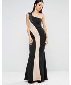 Jessica Wright   Монохромное Платье Макси На Одно Плечо