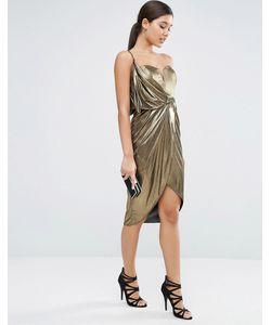 Asos | Платье Миди Цвета Металлик С Асимметричным Запахом Спереди