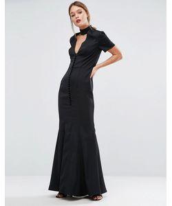 JARLO | Платье Асимметричного Кроя С Планкой На Пуговицах Черный