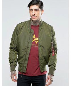Alpha Industries | Темно-Зеленая Куртка-Пилот Кроя Слим Ma-1 Зеленый