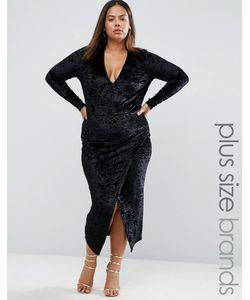Club L | Бархатное Платье С Асимметричной Кромкой Plus Черный