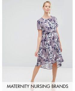 Hope and Ivy Maternity | Платье Миди 2 В 1 Для Беременных С Асимметричным Краем Hope