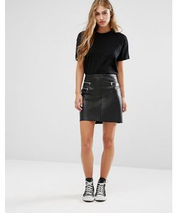 Pimkie | Leather Look Zip Detail Mini Skirt Черный