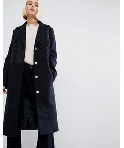 Asos | Пальто Из Смесовой Шерсти Со Стегаными Бархатными Вставками