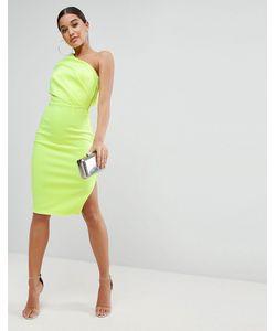 Asos | Платье Миди На Одно Плечо С Броской Молнией
