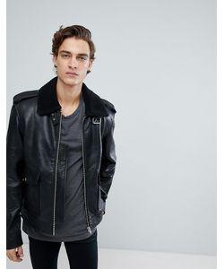 Black Dust | Кожаная Куртка С Воротником Из Искусственного Меха