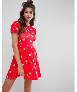 Asos | Чайное Платье С Цветочным Принтом И Пышными Рукавами
