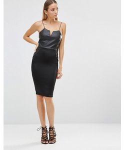 AX Paris | Облегающее Платье Миди С Отделкой Из Полиуретана