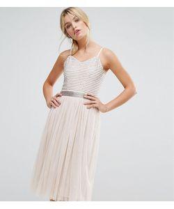 Amelia Rose | Декорированное Платье Миди С Юбкой Из Тюля