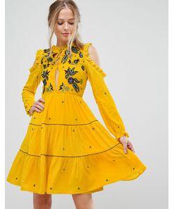 Frock and Frill | Свободное Платье Из Бархата С Открытыми Плечами И Цветочной Вышивкой Frock
