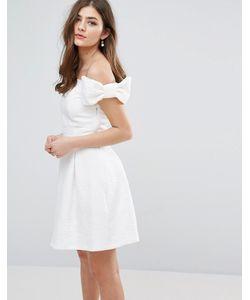 Miss Selfridge | Короткое Приталенное Платье С Открытыми Плечами И Бантами