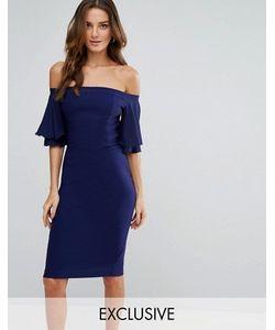 Vesper | Платье-Футляр С Оборками На Рукавах И Открытыми Плечами