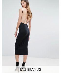 Missguided Tall | Облегающее Платье Миди В Рубчик С Открытой Спиной