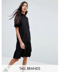 Noisy May Tall | Асимметричное Трикотажное Платье С Оборкой
