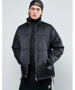 Asos | Черная Дутая Куртка С Золотистой Молнией