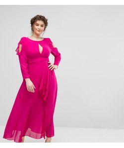 Truly You | Платье Макси С Вырезами На Плечах Оборками И Поясом