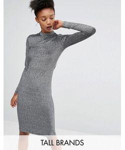 Y.A.S Tall | Облегающее Платье Металлик С Длинными Рукавами Lisa