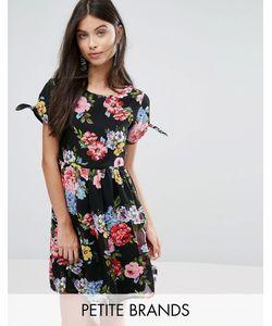 Yumi Petite | Короткое Приталенное Платье С Бантами На Рукавах И Цветочным Принтом Yumi