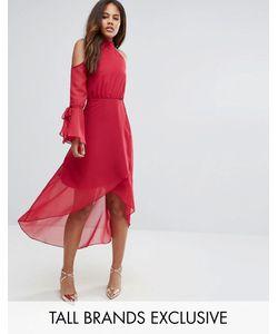 True Decadence Tall | Платье Миди С Открытыми Плечами И Запахом Premium