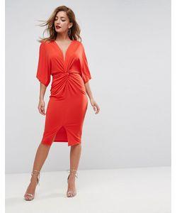Asos | Платье-Трансформер Миди С Глубоким Вырезом И Узлом