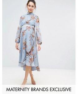 Hope and Ivy Maternity | Платье Миди С Кружевными Вставками И Принтом Птиц Hope Ivy
