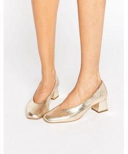 Carvela   Кожаные Туфли Золотого Цвета На Каблуке Средней Высоты Antidote