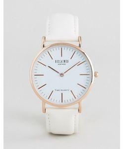 Reclaimed Vintage | Золотистые Часы С Белым Кожаным Ремешком