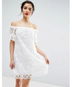 Asos | Кружевное Платье С Открытыми Плечами Premium