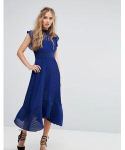 Foxiedox | Платье Миди Со Вставкой Кроше На Талии