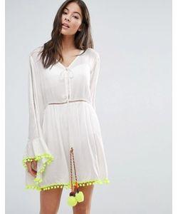 Anmol | Пляжное Платье Мини С Расклешенными Рукавами И Помпонами