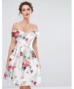 Chi Chi London | Платье Миди С Открытыми Плечами И Цветочным Принтом
