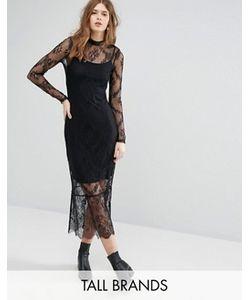 Vero Moda Tall | Кружевное Платье Миди С Длинными Рукавами