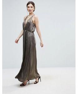 Amy Lynn | Атласное Платье-Комбинация С Сеточкой