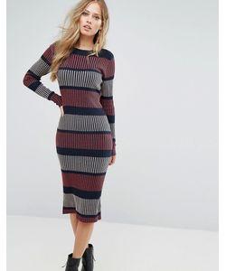 Vero Moda   Вязаное Платье Миди В Полоску