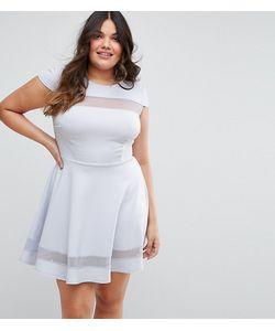 Club L | Короткое Приталенное Платье С Короткими Рукавами И Сетчатыми Вставками