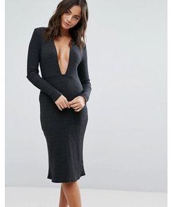NYTT | Черное Платье С Глубоким Вырезом И Длинными Рукавами