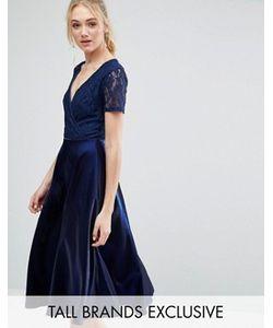 True Decadence Tall | Платье Миди Для Выпускного С Кружевным Топом И Запахом True Decadence