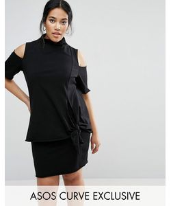 ASOS CURVE   Knot Front Shift Dress With High Neck