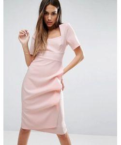 Asos | Платье-Футляр Со Складками В Стиле Оригами На Юбке