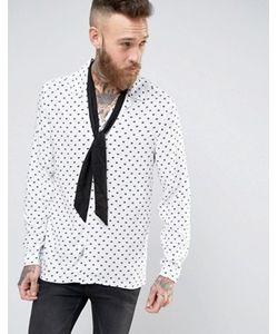 Asos | Вискозная Рубашка Классического Кроя В Сердечки С Воротником В Виде Лацканов