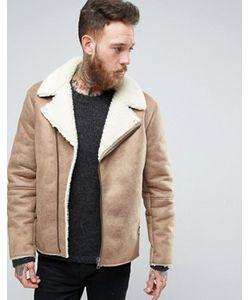 Asos | Байкерская Куртка С Подкладкой Из Искусственной Овечьей Шерсти